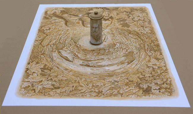 乍看之下超普通...藝術家一放「圓柱鏡」上去 平面畫作瞬間變成空前神作!