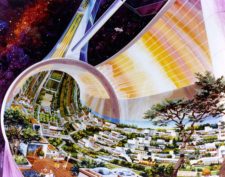 1970年代NASA設計的「太空殖民站」 管體面板能模擬各種天氣!