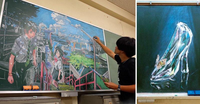 日本老師用粉筆「創作12幅黑板神作」 超完美細節讓人想直接把黑板表框!
