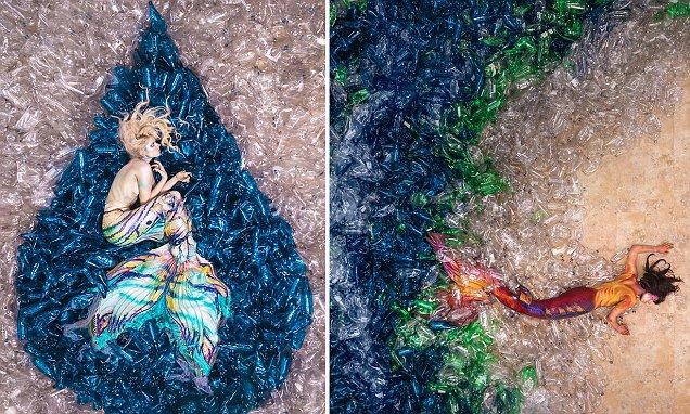 加拿大攝影師用「10000個寶特瓶」做出超狂作品 流眼淚的夢幻美人魚涵意很深...