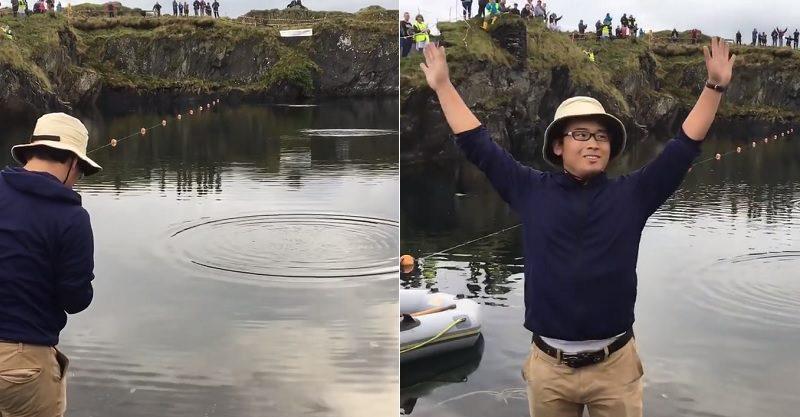 扔石頭扔到稱霸世界!亞洲神人「打水漂」差點飛到對岸 跨越169公尺連老外也傻眼