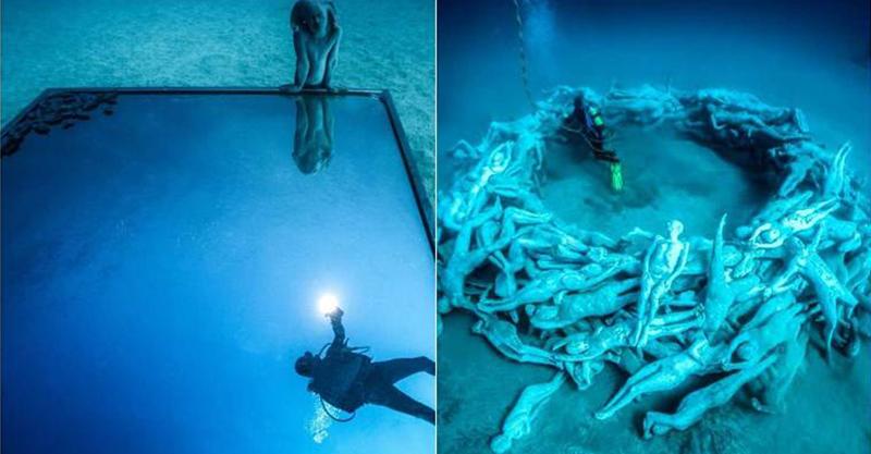 歐洲海底博物館宛如神秘「亞特蘭提斯」 300座真人大小雕像也是魚兒的家!