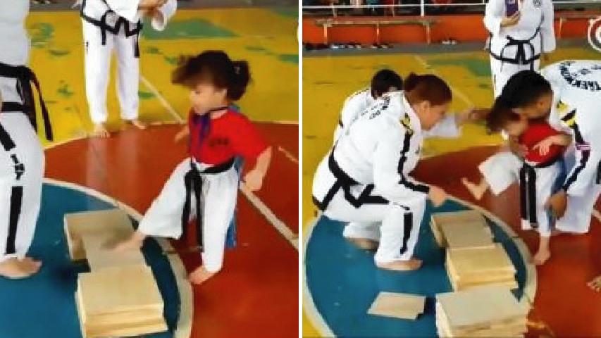 小萌娃學跆拳道!怎麼試都踢不破木板 教練比她還急:用坐的也要坐破啊~