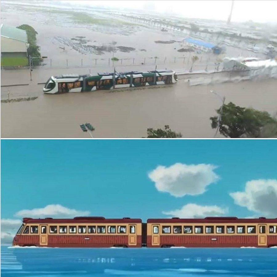 高雄暴雨「輕軌→水上列車」 意外重現《神隱少女》經典場景!