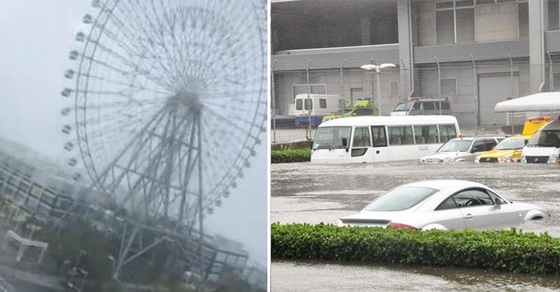 日本颱風到底多大?他拍下海遊館摩天輪 強風吹過秒變「超狂風火輪」車廂狂甩