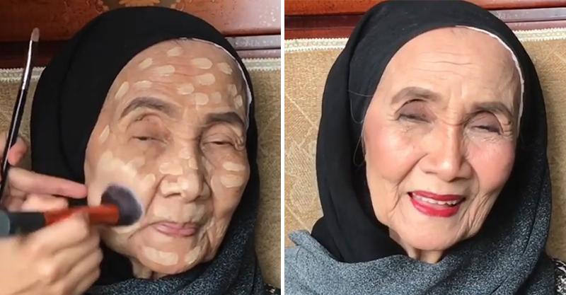 孫女幫93歲奶奶化妝 完妝後「年輕20歲」露甜笑:謝謝讓我變美♥
