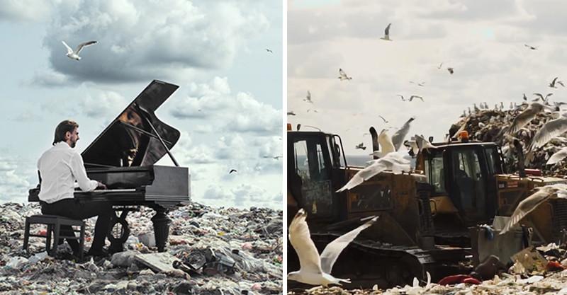 强忍惡臭6小時!音樂家在垃圾山演奏 「美麗旋律+髒亂環境」超震撼:讓地球呼吸吧