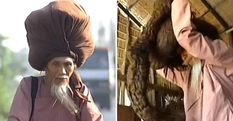 男子蓄髮50年「擁有6.7公尺長髮」 每天頂10公斤在頭上...連走路都要注意平衡!