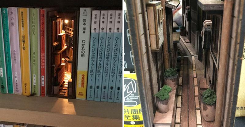 在書本間通往另一個世界!日本藝術家製作超美「小巷弄書架」 燈柱版本氛圍太夢幻❤