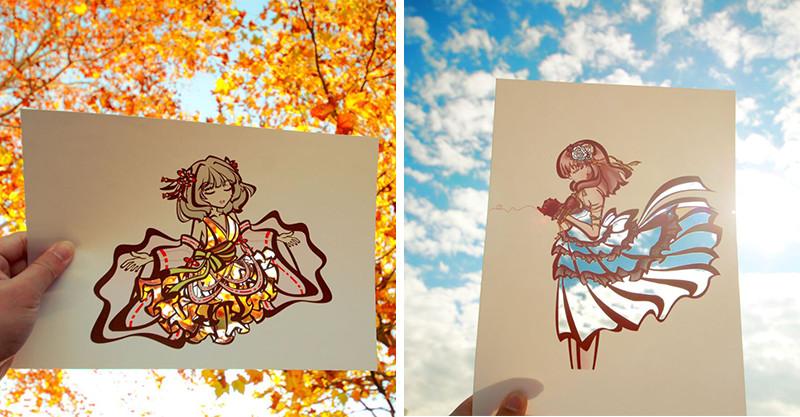 大自然是最完美的填色筆!日本藝術家用「楓葉與藍天」幫人物上色 夕陽和服美到不行❤