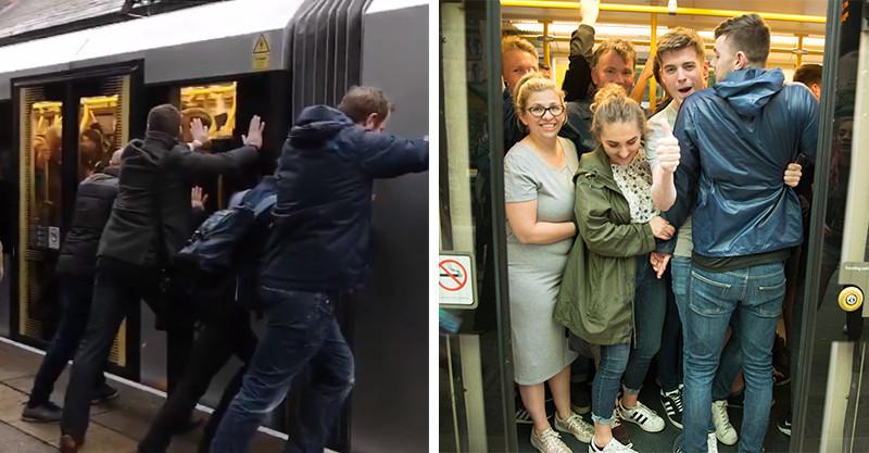 通勤族的悲哀…英國電車超載開不動 路人施展「神奇魔力手」讓它終於速速前!