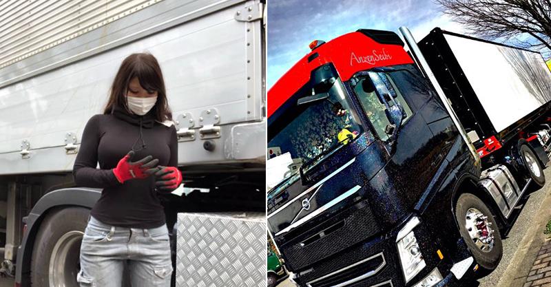 超胸卡車妹「天天金髮+短裙」出車上工 水蛇腰鑽出車廂...收件人搶排隊領貨!
