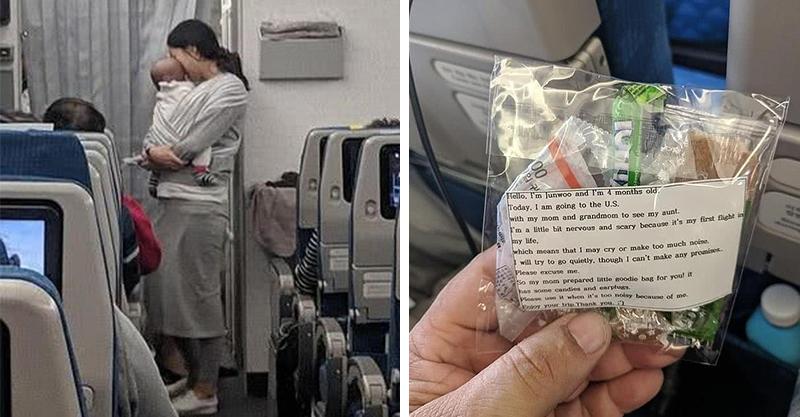 小寶寶哭鬧惹人怨!機智媽送200位飛機乘客「無法生氣的小禮」 每個媽媽都該學起來!