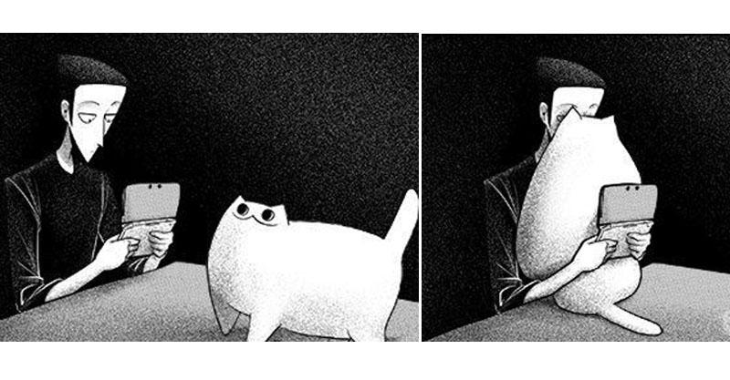 22張爆笑插畫說明「只有貓奴才懂的幸福」 貓奴的晚上...是絕對不怕冷的!