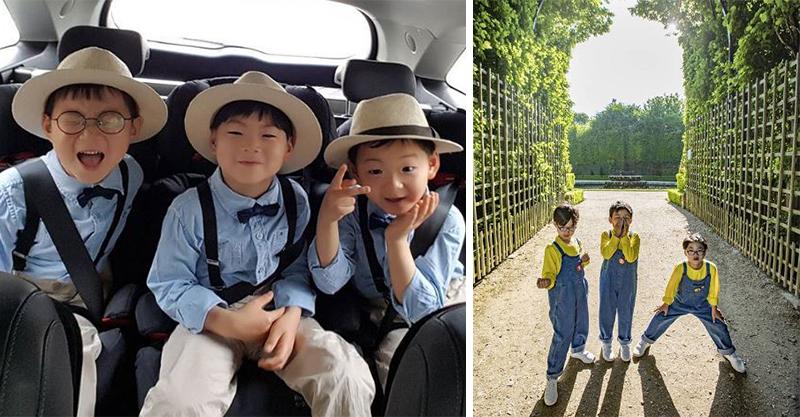 「韓國最萌三胞胎」陪媽媽赴法進修!卻被當地人「黃色液體招待」爸心碎:亞洲人錯了嗎?