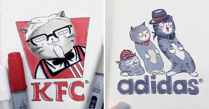 18個「被萌喵攻占」的知名品牌Logo 厭世眼喵皇「穿上魚尾裝」比星巴克女神還正❤