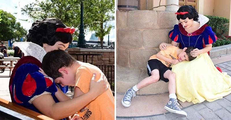 6歲男孩在迪士尼崩潰...暖心白雪公主親自「借肩膀」安慰!