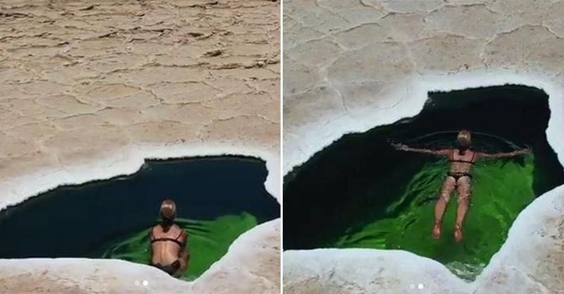 影/情侶在乾裂鹽漠中驚見「天然泳池」 辣女友下秒「換上比基尼」畫面超唯美!