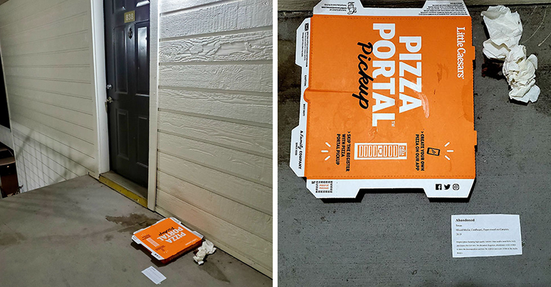 鄰居亂放披薩盒「擺10天」堅持不丟 他臭到氣瘋把垃圾「變藝術品」神反擊
