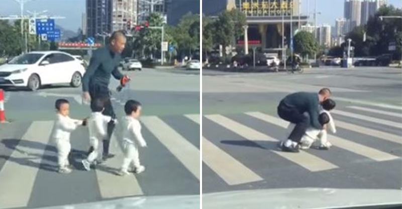 影/超萌三胞胎過馬路…狂爸眼看要轉紅燈 下一秒「超MAN舉動」全網笑翻:卡頭了