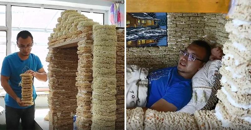 影/準爸爸用「2000包泡麵」搭出豪宅 超猛設計「一房一廳」網卻冷回:不安全!