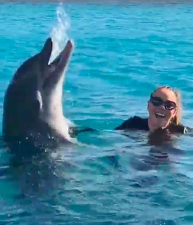 影/瑪麗亞凱莉「跳下水」突然飙海豚音 下秒釣出「真的海豚」反應讓網笑翻:直接被嚇飛!