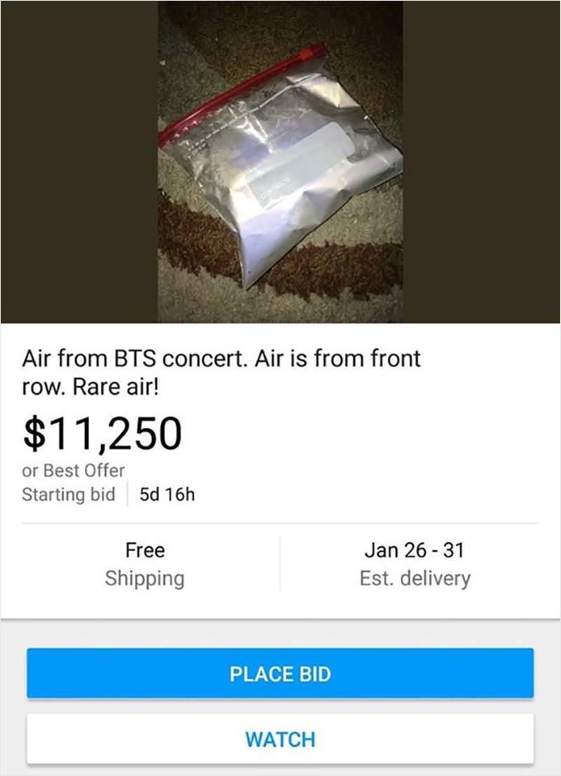 12個證明「賣家精神不正常」的超獵奇商品 他拍賣「BTS演唱會空氣」價格竟超過30萬!