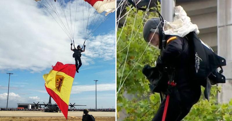影/西班牙國慶表演閱兵式 跳傘員竟「意外卡在半空」國王超尷尬:變路燈裝飾…