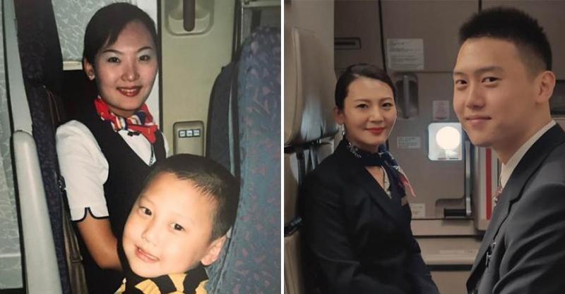 他5歲搭飛機「跟空姐合照」結下奇妙緣分 15年後雙方「憑舊照重逢」升級成師徒!