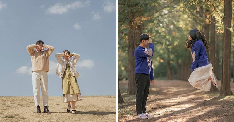 南韓搞怪情侶又出新招!把「壁咚→胸咚」一張照片萌翻眾人