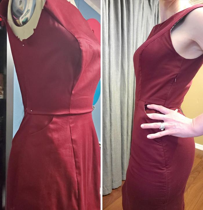 女孩們的福音!她自製「有口袋的」緊身洋裝 打版裁縫一手包辦…超美成品曝光