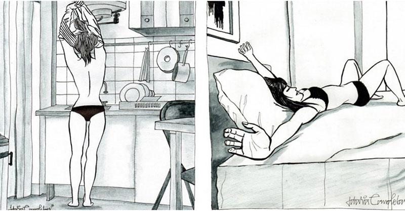 誰說單身不好!畫家畫出「獨居女人」的超爽日常 「只穿內衣褲」只是基本