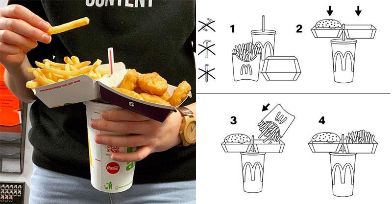 麥當勞官方教學「一手拿全餐」邊走邊吃的絕招 網實測讚爆:以前都沒想到!
