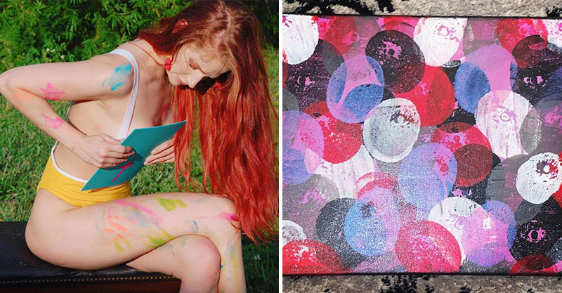 正妹藝術家用「器官作畫」 作品「形狀超害羞」好立體!